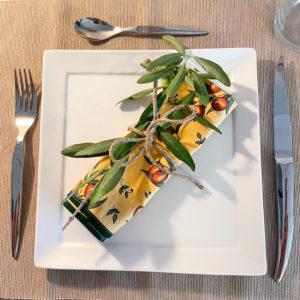 Lot de 2 serviettes de table olives